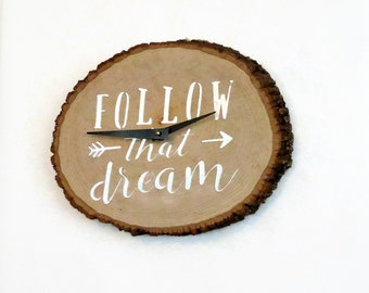 Wood Wall Clock, Follow That Dream Wall Art, Ready To Ship, Home and Living, Home Decor, Clocks