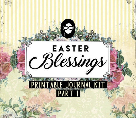 Bible Journaling Kit - Easter Blessings P1 - 16 Journal Refill Pg printable diary pack floral digital paper scripture art Junk Journal kit