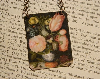 Floral necklace Fine Art mixed media jewelry