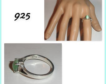 Marked Stamped 925 Light Green Cat's Eye Dainty Sterling Silver Size 7 Ring