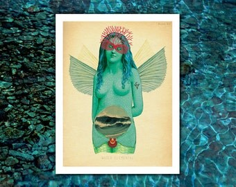 unique water ocean fairy art print | fantasy art, mermaid art, fairy art, magic surrealism, surreal fairy art, undine, red coral, oceanid