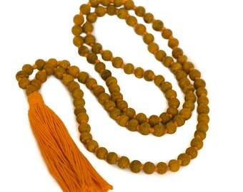 Turmeric Haldi Mala Necklace 108 Beads with Japa Mala Bag and Counting Beads JMP0026