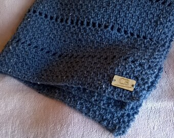 Blue Grey Chunky Crochet Blanket