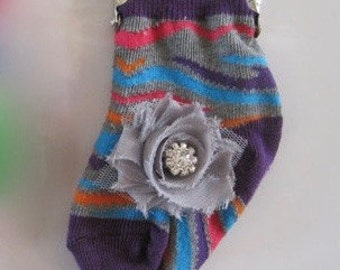 Adorable Baby Sock Coin Purse Accessories with Matching Chiffon Flower and Rhinestone Accent Last One....
