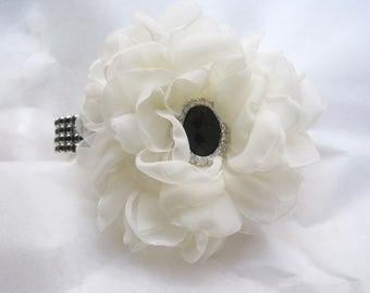 Romantic Light Ivory Chiffon Black Rhinestone Wrist Corsage with Black Rhinestone Accent Choose Bracelet and Center Embellishment Prom