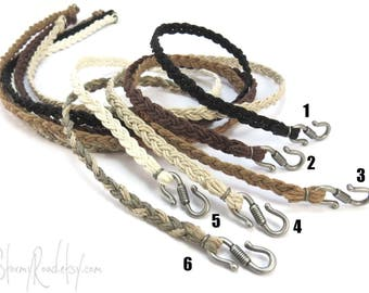 Customizable Hemp Cord with Rustic Hook Clasp - Natural Earth Tone Hemp Cords