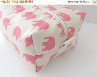 HURRY PRESIDENTS DAY Sale Pink Elephant Makeup Bag - Elephant Fabric - Waterproof Makeup Bag