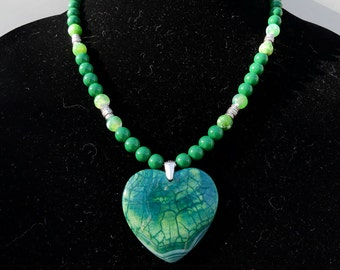 19 Inch Green and Blue Fire Agate Heart Necklace with Earrings