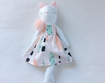 White cat rag doll, white cat doll, cat with bird rag doll, bird rag doll, cat lover doll