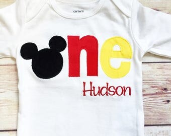"""Mickey Mouse Inspired """"One"""" Shirt for 1st Birthdays - Boy Birthday Outfit - Classic Mickey - Red, Black and Yellow - 1st Birthday Shirt"""