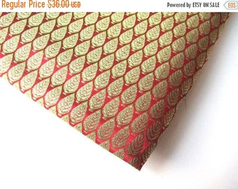 ON SALE SALE Christmas tree green on red india silk brocade fabric nr. 73 Remnant