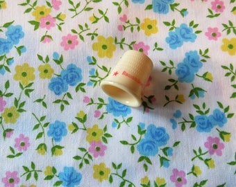 pink, blue and yellow floral print cotton fabric -- 44 wide by 1/2 yard