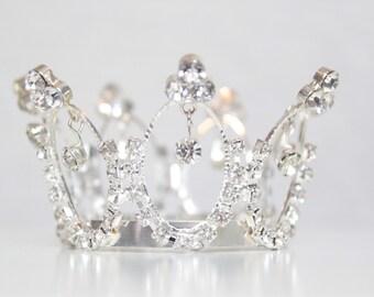LAST ONE - Newborn Princess Tiara - Full Circle Mini Rhinestone Crown Headband - Couture Newborn Photo Prop or Princess Keepsake