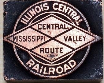 Illinois Central Railroad Printing Block Letterpress