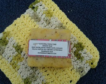 Mother's Day, gifts for her, organic soap and crochet cotton washcloth, organic gift sets, shower gifts, graduation gifts LOVE SPELL soap