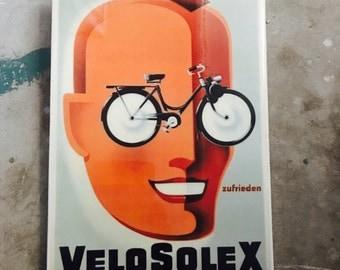 Vintage Cyclist Wall Tile Velosolex Gift