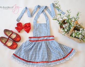 Dorothy Wizard of Oz Birthday Outfit - Dorothy Halloween Costume - Wizard of Oz Costume - Blue Gingham Dress - Dorothy Pinafore Dress