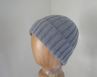 Gray Cashmere Hat, Hand Knit, Luxury Natural Fiber, Gift for Him Her, Beanie Watch Cap, Lightweight Hat