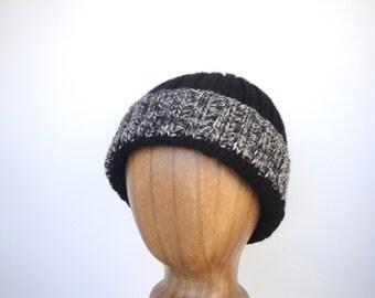 Hand Knit Warm Wool Hat, Watch Cap, Black White Gray, Toque Beanie, Men Teen Boys, Stripe Brim