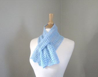 Baby Blue Scarf, Cashmere Neck Warmer Pull Through Keyhole Scarf, Ballad Blue 2017, Super Soft Light Warm, Knitted Scarf