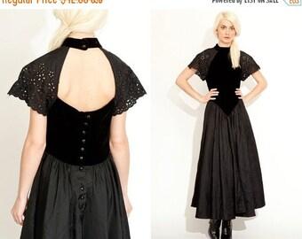 50% OFF ENTIRE STORE Vintage 80s 90s Open Back Taffeta Eyelet Full Skirt Maxi Dress // Velvet