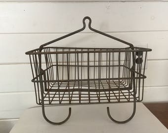 Vintage Hanging Metal Industrial Basket Rusty,Metal Hanging Storage Basket,Bethlehem Steel Salvage