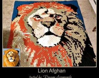Lion Afghan, C2C Graph, and Written Word Chart