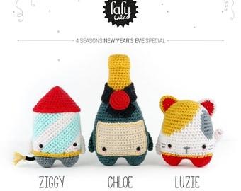 4 seasons: NEW YEAR's EVE (firework rocket, champagne, lucky cat) • lalylala crochet pattern / amigurumi