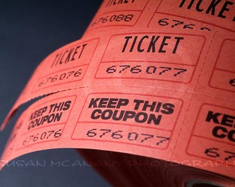 Ticket Roll Photo, Coupon Photo, Website Content, Ticket Clipart, Red Tickets, Movie Blog Photo, Event Ticket Photo, Raffle Ticket Photo