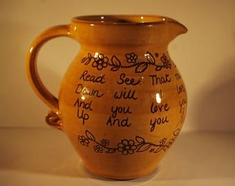 North Devon Pottery Motto Jug - Harry Juniper - Bideford Pottery  -  Loving Jug   #9014