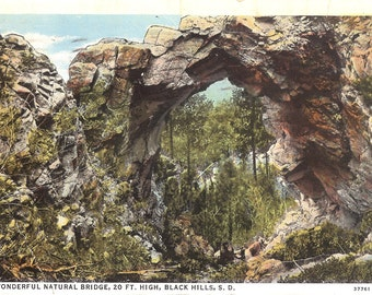 Vintage Postcard...South Dakota, Black Hills, Wonderful Natural Bridge, 20 Ft. High..Used, 1937...no. SD0005