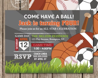 Sports Balls Boy Birthday Party Invitation Digital Printable or Printed, any color any wording any age