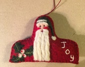 Wonderful Needle Felted Santa Christmas Ornament Head And Shoulder Shaped