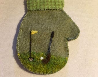 Needle Felted Mitten Ornament For Someone Who Is A Golfer That Holds A Gift Card