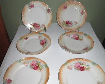 Set of 6 Antique Lusterware Dessert Plates Roses Germany