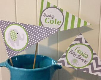 """PREPPY ELEPHANT  Happy Birthday or Baby Shower Centerpiece Flags Pennants """"It's a Boy"""" - {Set of 3} - Lime Green GREY - Party Packs Availabl"""
