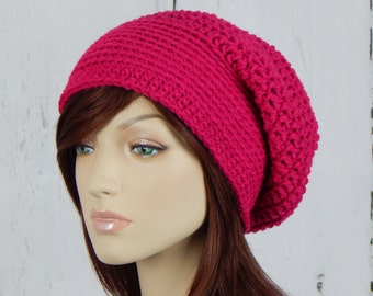 Hot Pink Slouch Hat, Pink Slouchy Beanie, Womens Hat, Teen Slouchy Hat, Winter Hats, Autumn Hats, Fall Beanies, MarlowsGiftCottage