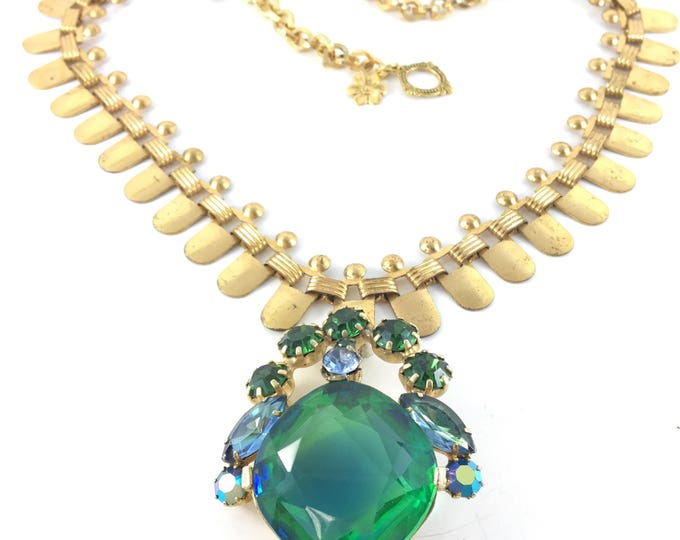 Vintage Green Blue Rhinestone Brooch Necklace with Deco Brass Chain