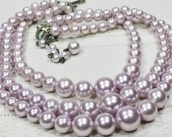 Vintage Necklace Triple Strand Lavender Faux Pearl