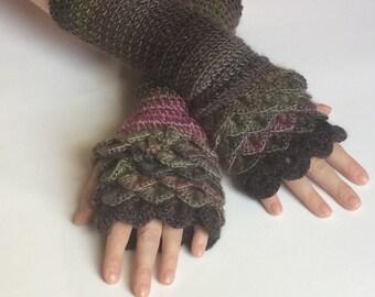 Handmade Crochet Crocodile Stitch/Dragon Scale Fingerless Gloves, Wrist Warmers, Hand Warmers
