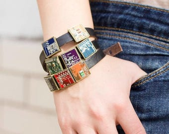 Men's leather bracelet - Wrap bracelet - gift for computer geek - circuit board jewelry - customizable color - unisex bracelet - square