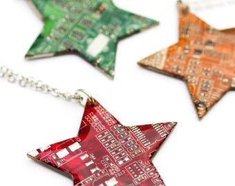 Circuit board Star necklace - geek necklace, computer nerd, contemporary, Statement Necklace, recycled computer jewelry