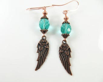 Copper angel wing earrings