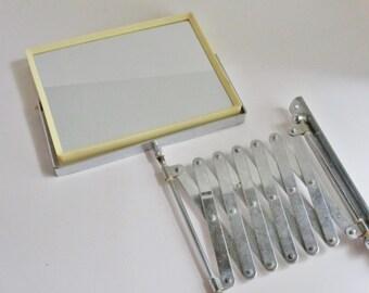 Vintage Wall Mirror Accordian Flip Shaving Mirror Vanity Swing Arm Two Magnifications Chrome Plastic