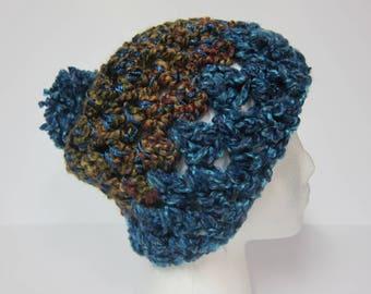 Teal Beanie, Teal Slouchy Beanie, Teal Hat for Women, Hat with Pom, Womans Slouchy Hat, Slouchy Beanies, Crochet Beanie, Beanie for Woman