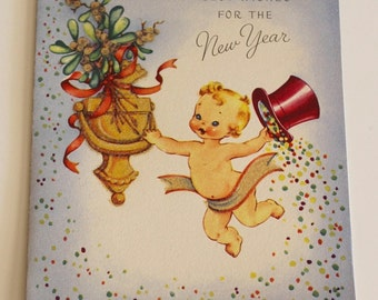 Vintage 1940s Glittery NEW YEAR'S CARD - Top Hat Baby with Confetti Design (Unused)