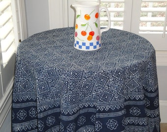 New - Round Table Cloth - Hmong Indigo Batik - Naturally Dyed Cotton - Hand Stamped - Table Linen - Dining Room Decor - Table Cover
