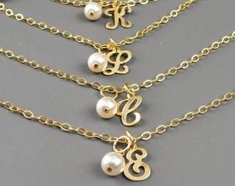 Personalized Bracelets Set of 5 - Gold Initial Bracelet - Bridesmaids Jewelry Set - Pearl Bracelets for Bridesmaids - Wedding Jewelry Set