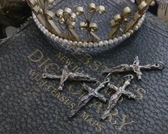 Antique French Crucifix Pendant Charm Silver Cross 1900s Medium (1)