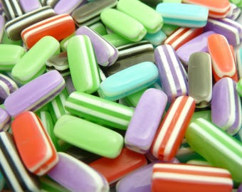 Striped Resin Rectangle Beads - 20pcs - Mixed Colors, Orange, Green, Blue, Purple, Brown, Red - 13x5x5mm - BP20